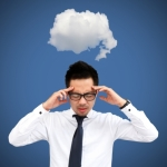 """Businessman With Cloud Thinking Concept"" by Chaiwat"
